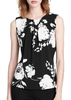 Calvin Klein Rose Print Sleeveless Blouse