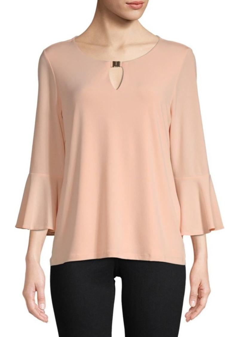 Calvin Klein Roundneck Bell-Sleeve Top