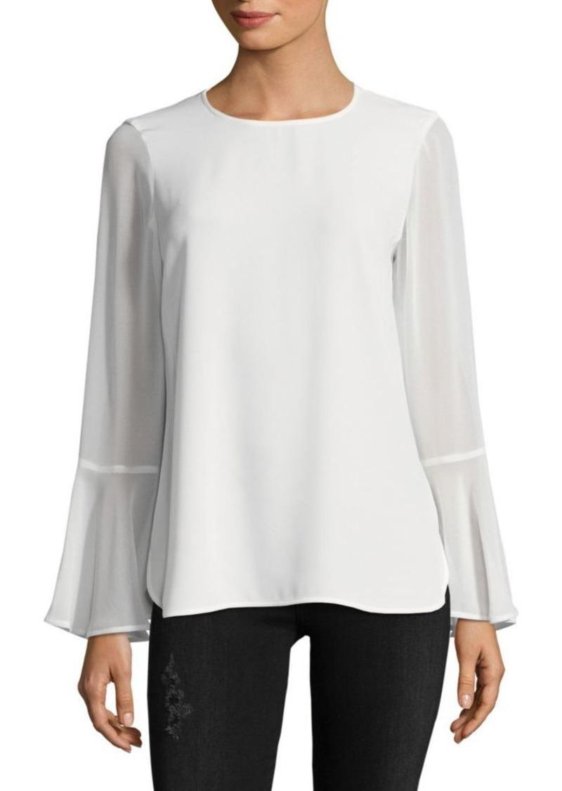 Calvin Klein Roundneck Flare-Sleeve Top