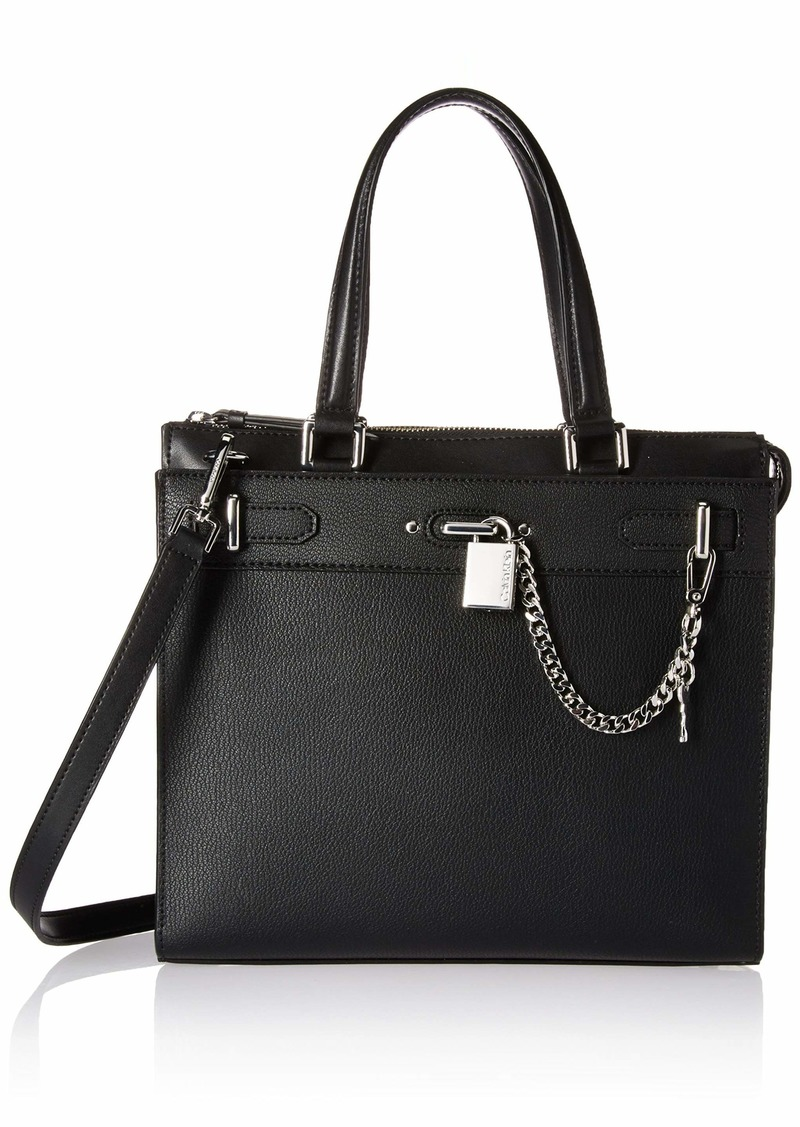 Calvin Klein Roxy Goat Split Leather North/South Box Chain Detail Tote black/silver