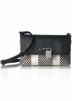 Calvin Klein Roxy Raffia Flap Over Chain Detail Crossbody