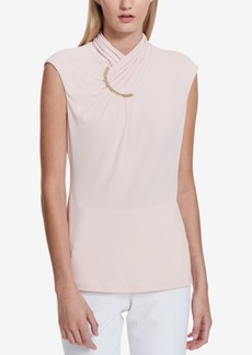 Calvin Klein Ruched Hardware Mock-Neck Top