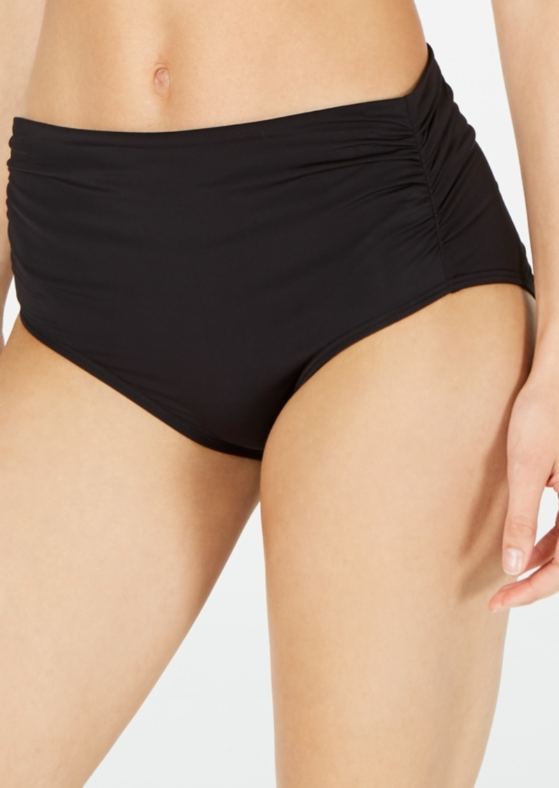 Calvin Klein Ruched High-Waist Bikini Bottoms Women's Swimsuit