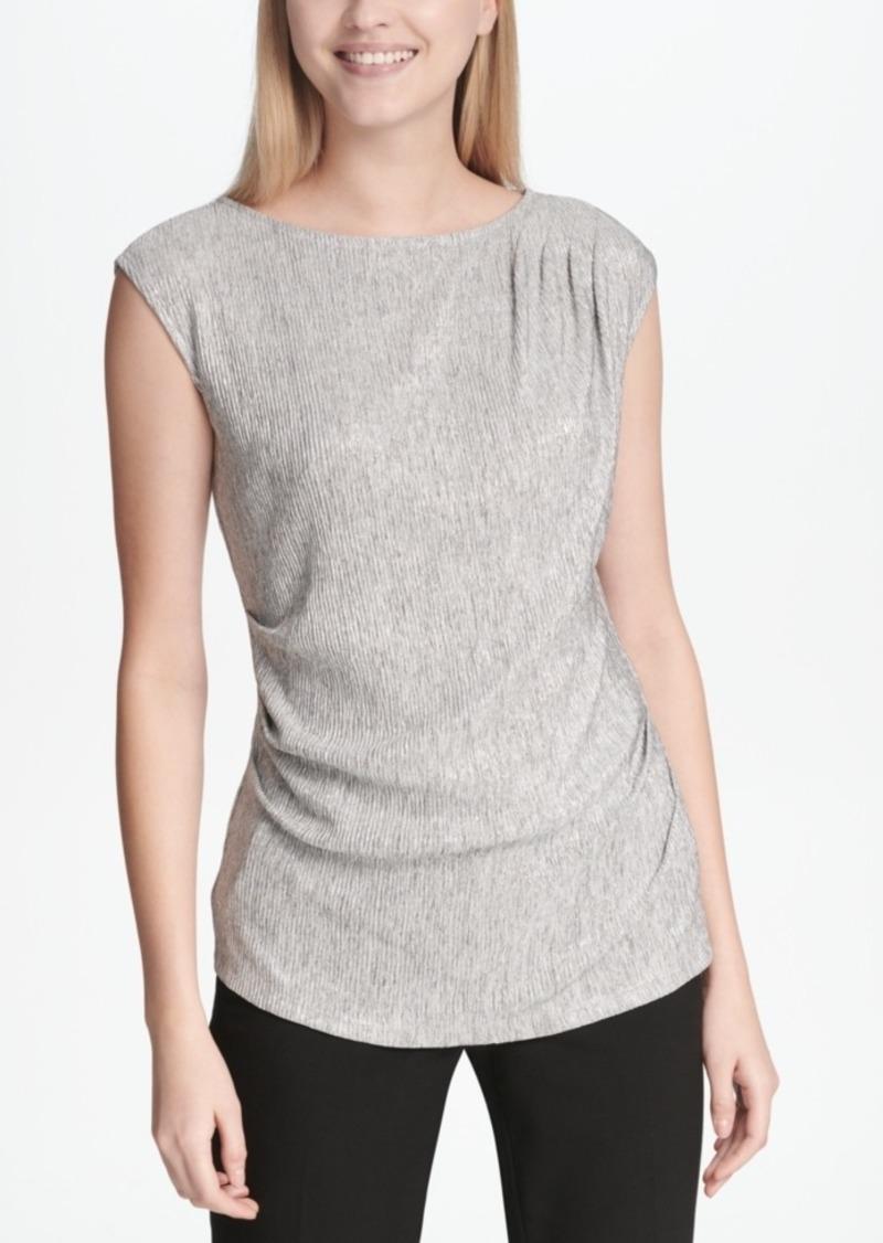 Calvin Klein Ruched Metallic Top