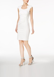 Calvin Klein Ruched Scuba Crepe Sheath Dress