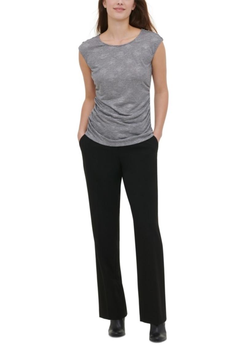 Calvin Klein Ruched-Side Button-Trim Top