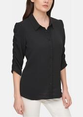 Calvin Klein Ruched-Sleeve Shirt