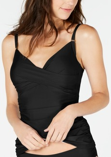 Calvin Klein Ruched Tummy-Control Tankini Top Women's Swimsuit