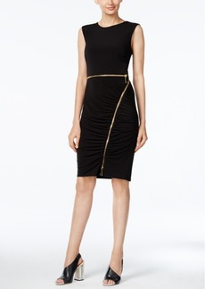 Calvin Klein Ruched Zipper Sheath Dress