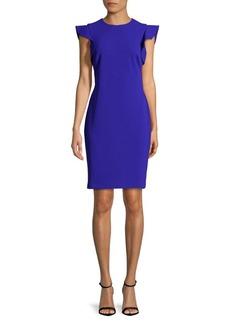 Calvin Klein Ruffle Cap-Sleeve Sheath Dress