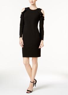 Calvin Klein Ruffle Cold-Shoulder Sheath Dress
