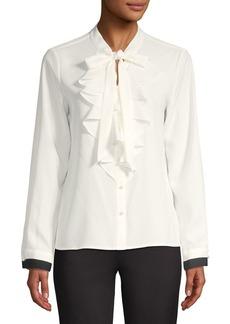 Calvin Klein Ruffle-Front Tie-Neck Blouse