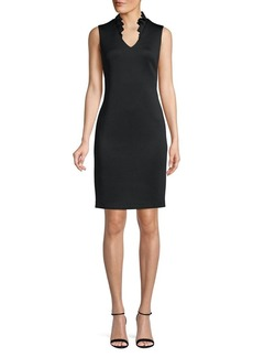 Calvin Klein Ruffle Neck Sheath Dress