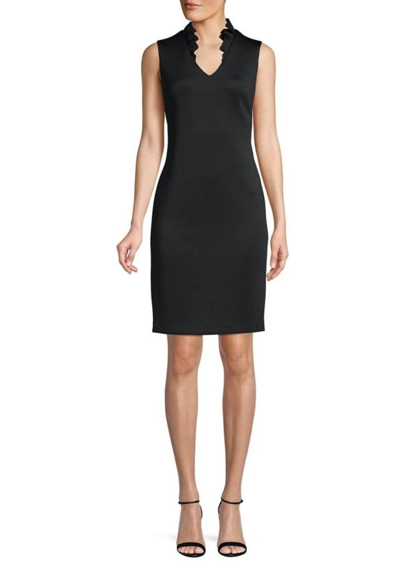Calvin Klein Ruffle Neck Sheath Dress