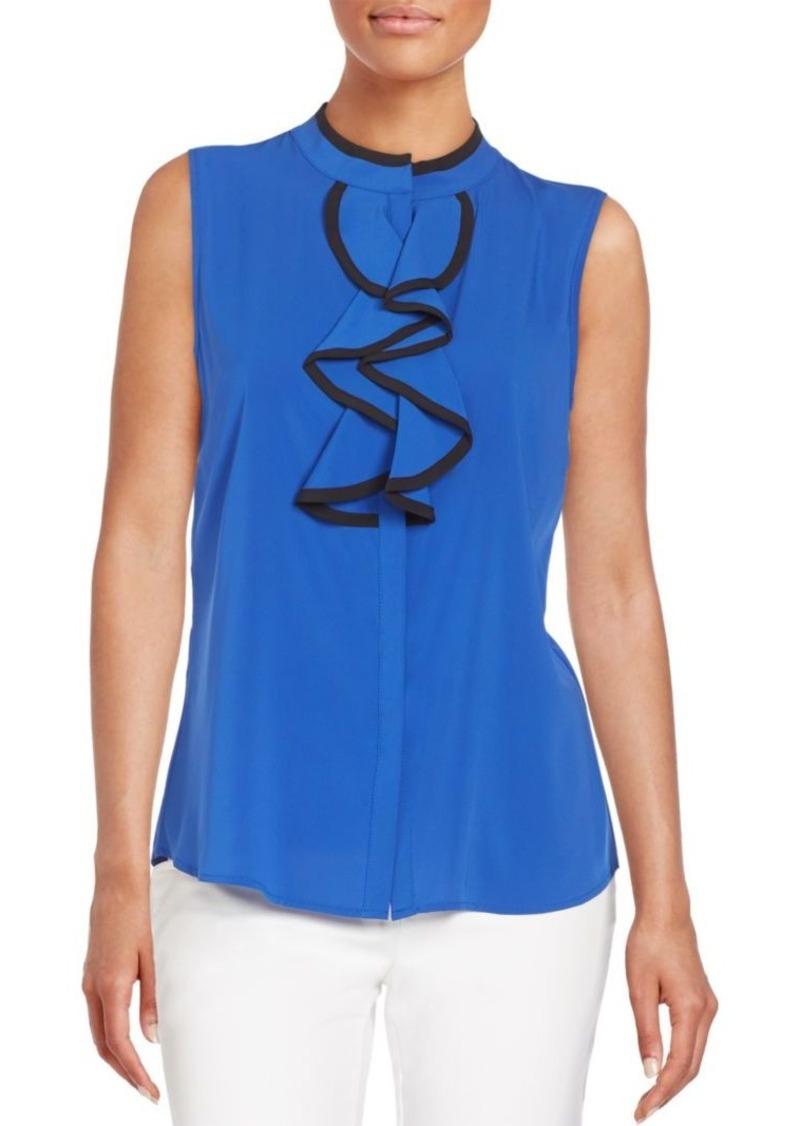 Calvin Klein Calvin Klein Ruffle Neck Top Casual Shirts