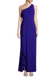 Calvin Klein Ruffle One-Shoulder Gown