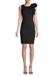 Calvin Klein Ruffle Shoulder Sheath Dress