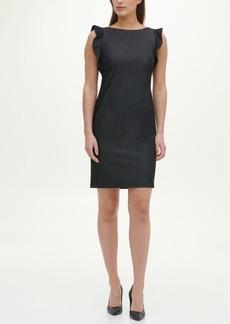 Calvin Klein Ruffle Sleeve Denim Dress