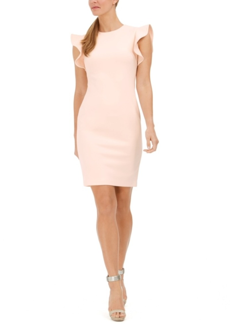 Calvin Klein Ruffle-Sleeve Sheath Dress