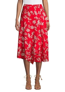 Calvin Klein Ruffle-Trimmed Asymmetrical Skirt