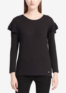 Calvin Klein Ruffle-Trimmed Long-Sleeved Top