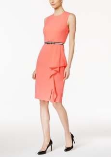 Calvin Klein Ruffled Belted Sheath Dress