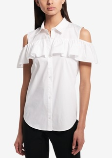 Calvin Klein Ruffled Cold-Shoulder Blouse
