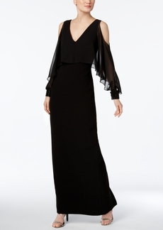 Calvin Klein Ruffled Cold-Shoulder Gown