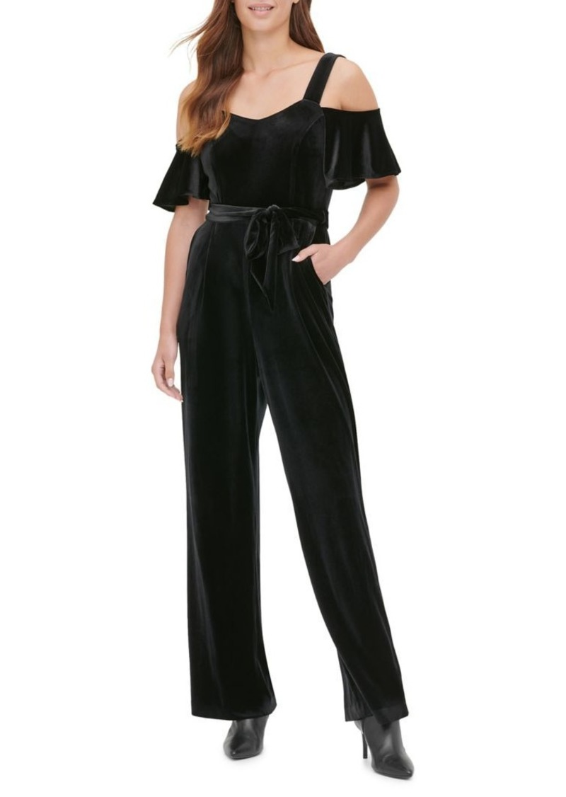 Calvin Klein Ruffled Cold-Shoulder Jumpsuit