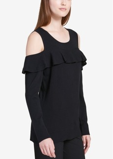 Calvin Klein Ruffled Cold-Shoulder Sweater