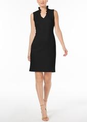 Calvin Klein Ruffled-Collar Scuba Sheath Dress