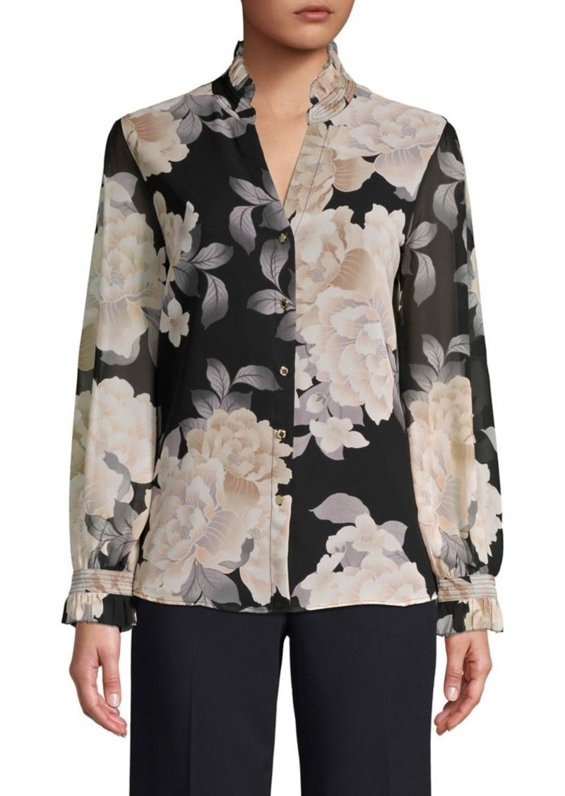 Calvin Klein Ruffled Floral-Print Top