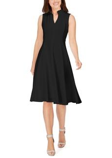 Calvin Klein Ruffled-Neck Seamed Fit & Flare Dress