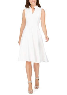 Calvin Klein Ruffled-Neck Seamed Fit & Flare Dress