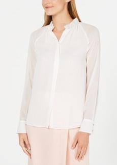 Calvin Klein Ruffled-Neck Button-Up Top