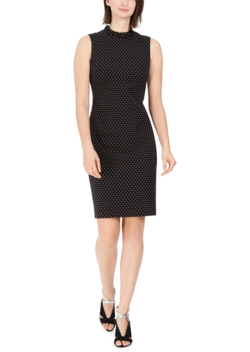 Calvin Klein Ruffled Pin Dot Sheath Dress