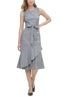 Calvin Klein Ruffled Plaid Midi Dress