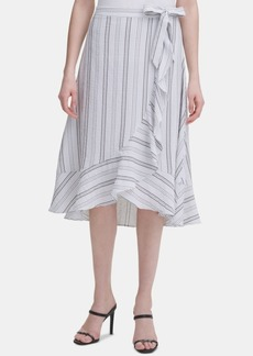 Calvin Klein Ruffled Striped Midi Skirt