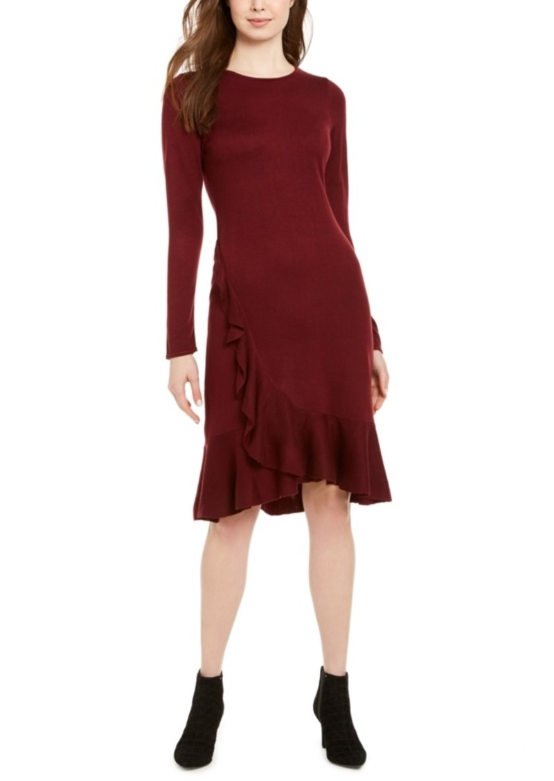 Calvin Klein Ruffled Sweater Dress