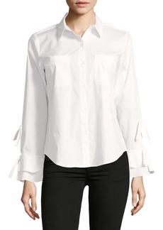 Calvin Klein Ruffled Tie-Sleeve Button-Down Shirt