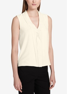 Calvin Klein Ruffled V-Neck Shell, Regular & Petite