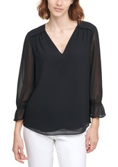 Calvin Klein Ruffled V-Neck Top