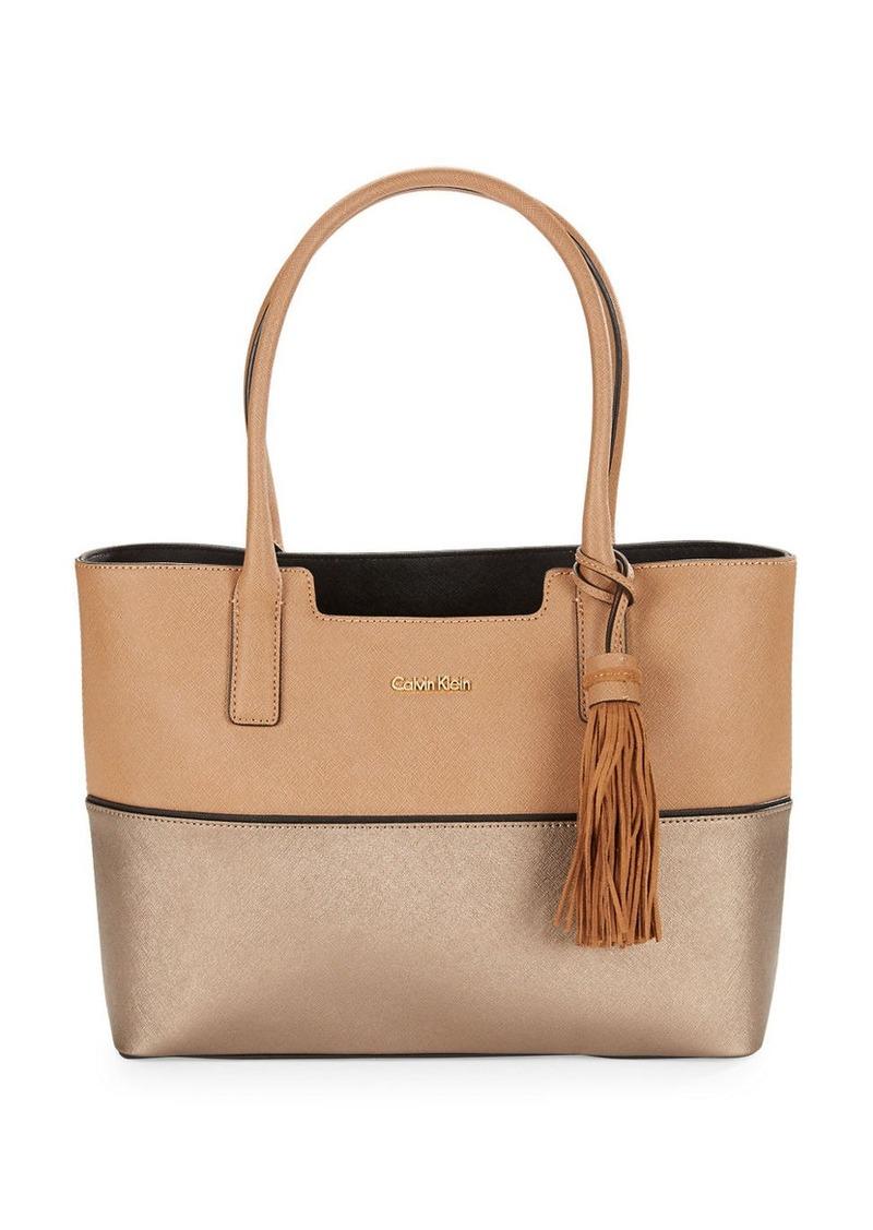 calvin klein calvin klein saffiano leather tote bag handbags shop it to me. Black Bedroom Furniture Sets. Home Design Ideas