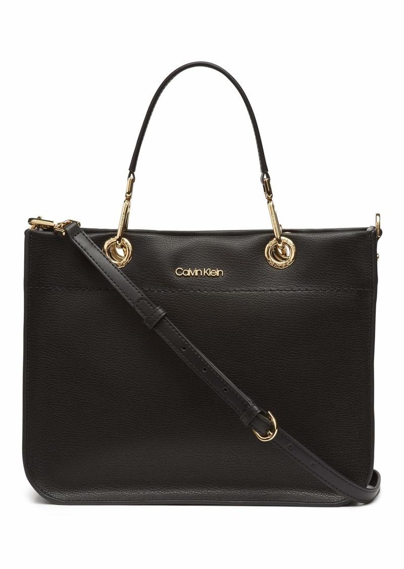 Calvin Klein Sandra Goat Leather Boxy Satchel black/gold