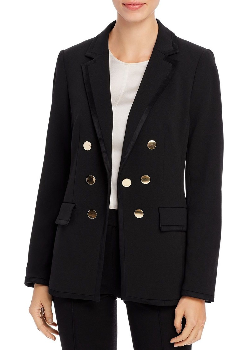 Calvin Klein Satin-Trimmed Faux Double-Breasted Blazer