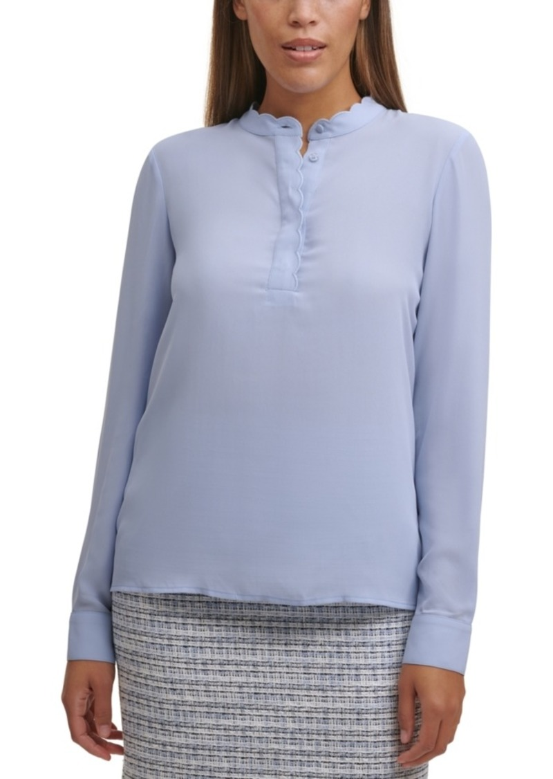 Calvin Klein Scalloped-Neck Top