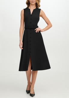 Calvin Klein Scuba-Crepe Button-Front Midi Dress