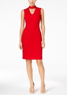Calvin Klein Scuba Crepe Choker Sheath Dress
