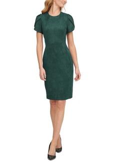 Calvin Klein Scuba-Crepe Faux-Suede Tulip-Sleeve Sheath Dress