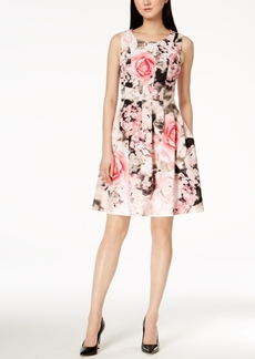 Calvin Klein Seamed Floral-Print Fit & Flare Dress, Regular & Petite